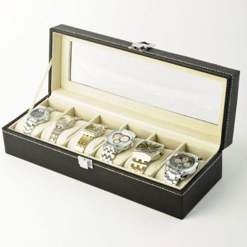 Super Deal Genie Uhrenbox / Uhrenkoffer, Kunstleder, für 6 Uhren