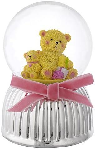 Boîte à musique Boule de neige Base argentée Couple oursons rose cm 9 x 13 – Made in Italy Avec Boîte pour fille | Soldes