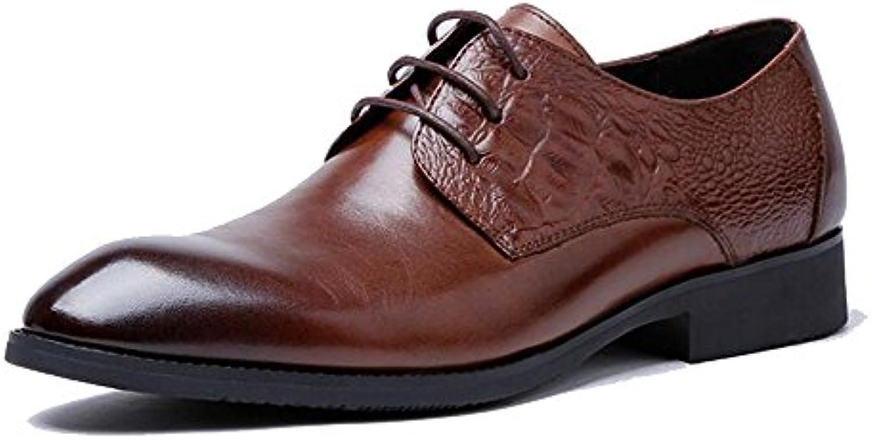 GAOLIXIA Zapatos de cuero de moda para hombres - Zapatos de vestir de cuero con cordones para hombres - Amarillo...