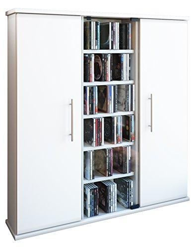 """VCM 45024 Regal DVD CD Rack Medienregal Medienschrank Aufbewahrung Holzregal Standregal Schrank Bluray Möbel Farbwahl \""""Santo\"""",Weiß"""