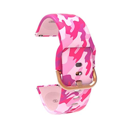 CCYX Uhrenarmband 20mm Silikonarmband Sportarmband Blumendruck für Galaxy Watch Armband Strap Gear S2 Camouflage pink
