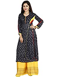 INDIJOY Women's Cotton Printed Kurti With Palazzo- Navy Blue