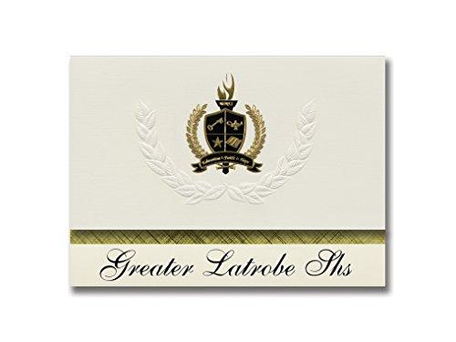 Signature Announcements Greater Latrobe Shs (Latrobe, PA) Abschlussankündigungen, Präsidential-Stil, Grundpaket mit 25 goldfarbenen und schwarzen metallischen Folienversiegelungen - Latrobe Pa