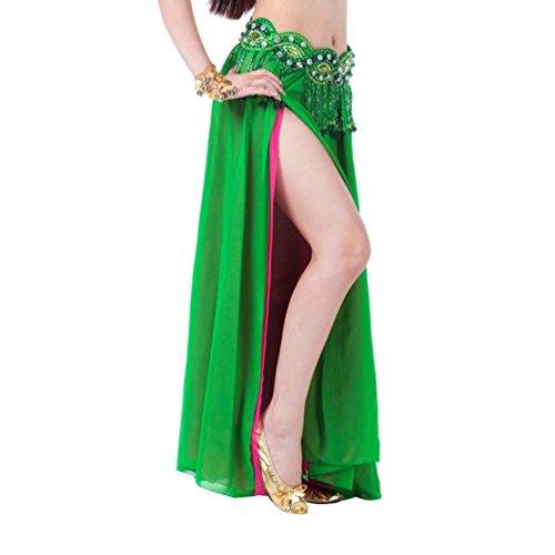 YouPue Bauchtanz Taille Kette Damen Tanzkostüm Bekleidung Zubehör Bauchtanzkostüme Bauchtanzperformance Kostüm BH Gürtel Rock Anzug Rock sexy indischen Tanz gehobenen Komfort Gürtel Kostüme Dark Green Rose