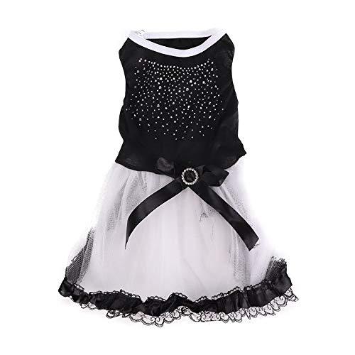 Hund Hochzeitskleid Outfits, Schwarz und Weiß Perle Blume Hund Welpe Bogen Kleid Hund Hochzeit Kleid Tutu Rock Spitze Bogen Kleid Braut KostümFür kleines - Schwarze Und Weiße Welpen Kostüm