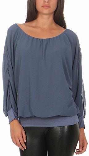 """Malito Damen Chiffon Langarm Bluse   Tunika mit weiten Ã""""rmeln   Blusenshirt mit breitem Bund   elegant - schick 6291 (hellblau)"""
