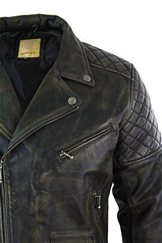 Herrenjacke 100% Echtleder Schwarz Braun Vintage Schäbiges Design Retro Biker Stil Schwarz/Braun
