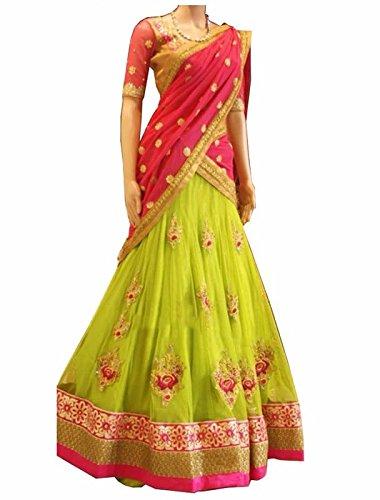 FebForrest Women\'s Yellow Georgette Attractative Workwear Semi-Stitched Lahenga Choli (Free Size) [SL 5 (FF_D1)_Yellow]