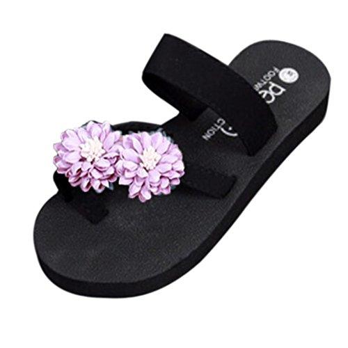 Rawdah Tongs Casual Sandales de Plage Cool Filles Femme Summer Beach Chaussons Platform Pantoufles de Bain Wedge Tongs Pantoufles Chaussures Pour Femmes Violet