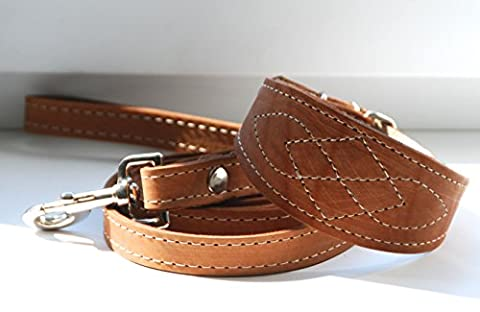 Real Leather Greyhound Saluki Whippet Lurcher Dog Collar and Lead