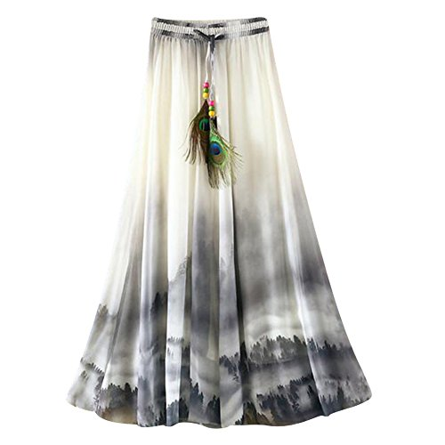 OuYou Mujer Faldas Largas Verano Playa Elegantes Vintage Boho Impresa Cintura Alta Gasa Falda Maxi Plisada Ropa Fiesta Moda (1C)