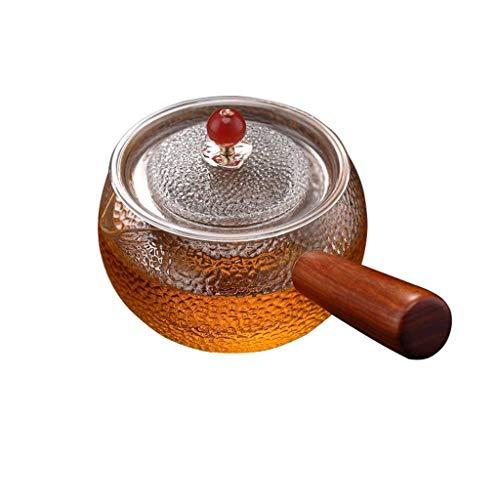 THBEIBEI Transparente Teekanne aus dickem BOR-Massivholz-Griff mit Teeabteil und Deckel (Color : Clear, Size : 480ml)