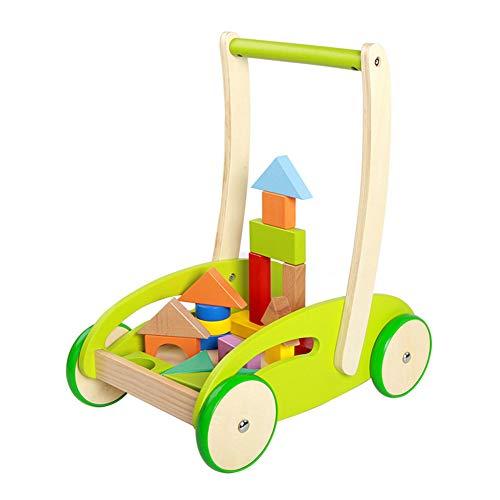 LTSWEET Einzigartig Baby Lauflernhilfen Hölzern Gehfrei Lauflernwagen Kinderspielzeug Geschenk Multifunktion Baby Walker Förderung Motorischer Fähigkeiten,Grün