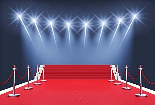 YongFoto 2,2x1,5m Vinyl Bühne Foto Hintergrund Roter Teppich Leiter Bokeh Scheinwerfer zum Hollywood-Oscar-Verleihung zum Party Veranstaltung Fotografie Video Hintergrund Studio Requisiten Tapete