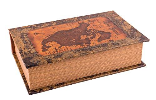 Kunstversteck Buchbox Landkarte Leder-Look, Geschenkbox im Vintage-Stil als Schatzkiste 21x13x5cm