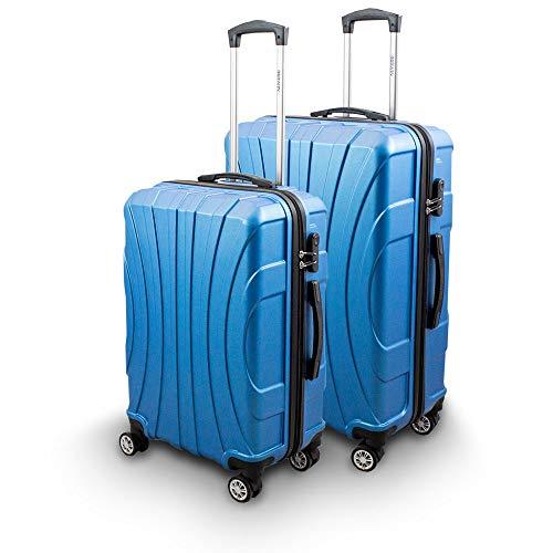 BERWIN® Kofferset L + XL 2-teilig Reisekoffer Trolley Hartschalenkoffer ABS Teleskopgriff Modell Strike (Skyblau)