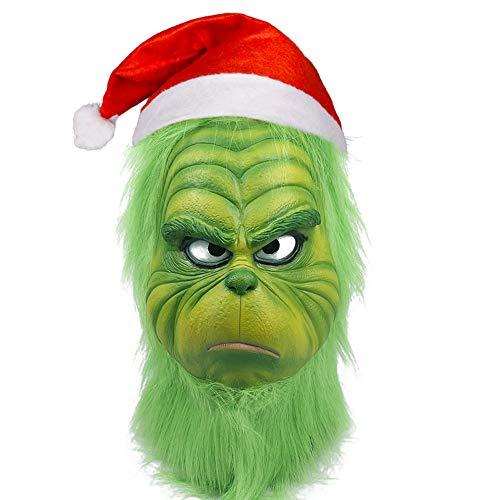 Homened Grinch Maske Weihnachts Hut Kostüm Maske Halloween Grusel Maske für Erwachsene Kinder