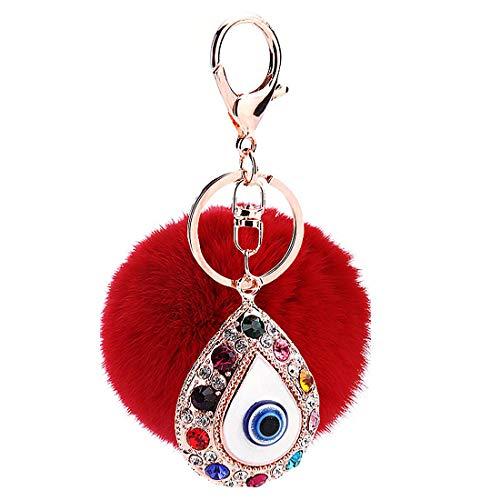 Taschenanhänger Schlüsselanhänger Bommel Pelzbommel mit Auge Strass,Pompom Kugel Schlüsselanhänger,Plüsch Auto Schlüsselring,Handtasche Schlüsselbund Weich Keychain Dekor (Rot)