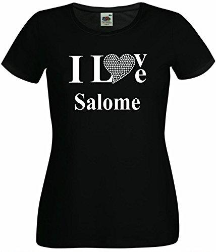 T-Shirt I Love Salome mit einer Strassaplikation / Strassherz Weiß