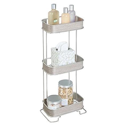 mDesign Badregal aus Metall & Holz - tolles Standregal für sämtliche Badaccessoires wie z.B. Shampoo und Handtücher - kompaktes Duschregal mit Holz-Akzenten - satiniert