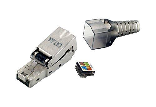 tsnetworks Cat.6a RJ45 Stecker 500Mhz, 10Gbit, feldkonfektionierbar für Patchkabel und Verlegekabel Cat.5 / Cat.6 / Cat.6a / Cat.7, AWG 22 - AWG27