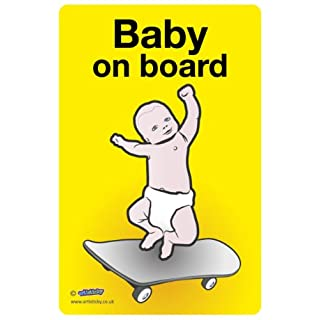 BABY ON BOARD Skateboard Decal Self Cling PVC 19x12cm - FREE POSTAGE