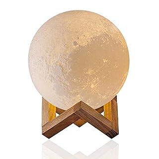 3D Kreatives Mondlicht - Evershop Weiß Mondnachtlicht Nachtlicht Moon Light Lamp Weiß/Warm-gelb Dual Licht Dimmable Touch Control,5,9 Zoll