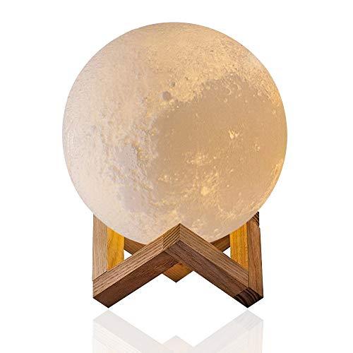 3D Kreatives Mondlicht - Evershop Weiß Mondnachtlicht Nachtlicht Moon Light Lamp Weiß/Warm-gelb Dual Licht Dimmable Touch Control,5,9 Zoll Dual-consumer Electronics