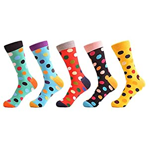 LILIKI@ 5 Paare/Los Damen-Klassischer Punkt-Lustige Gekämmte Baumwollmannschaft-Frauen-Socken-Art- Und Weisebunte Hochzeits-Geschenke Eu-Größe 37-42