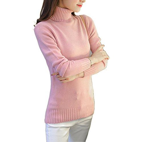 Rollkragen Pullover Damen Winter Weiß Schwarz Beige Rollkragenpullover Frauen (Pink Lila, One Size)