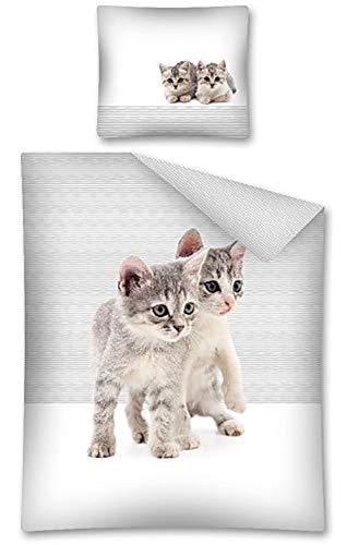 Sweet Animals Katze Kitten Motiv Bettwäsche Set 140 x 200 cm
