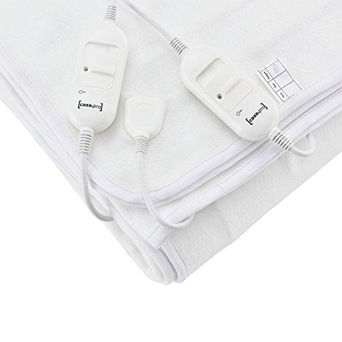 [casa.pro]®] Doppelte Elektrische Heizdecke 160x140cm Wärmedecke TÜV geprüft Wärmeunterbett Handwaschbar 2 x 60W 230V 50Hz Weiß