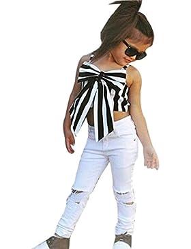 OverDose Bambini Top Ragazze Pantaloni Per Il Buco + T-Shirt a righe e arco Corta Abbigliamento Sling Due Pezzo