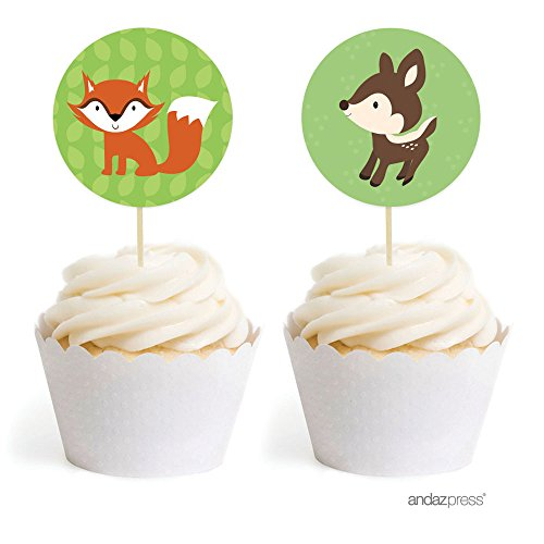 Andaz Drücken Woodland Forest Baby Dusche Collection Favors Kit Cupcake Topper