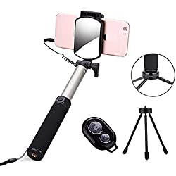 Bluetooth selfie stick, selfie stick treppiede allungabile monopiede selfie stick con Big View Finder mini treppiede, Rear Mirror, telecomando e cavo otturatore integrato telecomando Bluetooth per iOS e Android Smartphone
