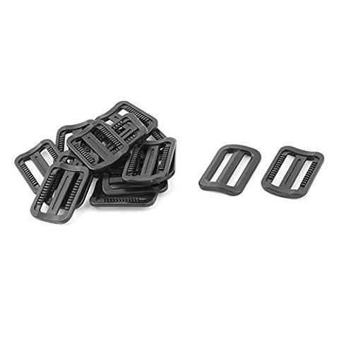 DealMux Plastikspielraum Verstellbare Rucksack Tri Glide Buckle 25mm Bügel-Breite 15pcs Schwarz