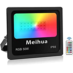 50W Projecteur led RGB exterieur éclairage couleur telecommandée 360°, Meihua lampadaire exterieur led couleur, lumineux de rêve jeu interieur led rgb pour déco Extérieur Halloween/Noël/Scène Paysage