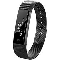 Smart Bracelet Pantalla táctil ID 115 de la muñeca Bluetooth Fitness Tracker YFisk IP67 Agua y sueño Monitor Activity Trackerpara iPhone Android Smartphone - Negro