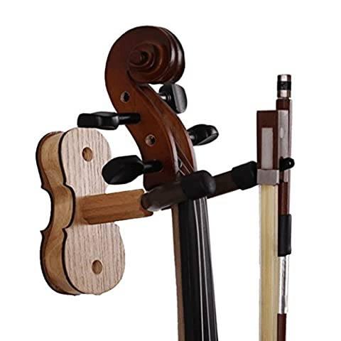 Violin Hanger,BestSounds Hardwood Rosewood Violin hook with Bow Hanger for Wall Amount Home & Studio Use (Maple)