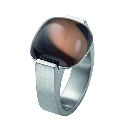 XEN Ring mit 15x15mm großen Rauchquarz Cabochon 59 (18.8)