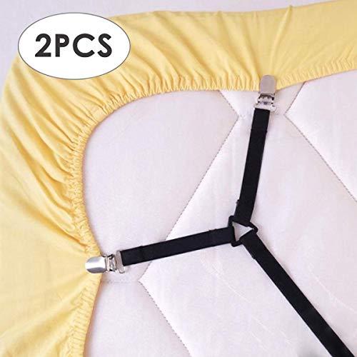 Chennie Bettlakenverschlüsse, verstellbares Dreieck elastische Hosenträger Greiferhalter Riemen Clip für Bettwäsche, Matratzenbezüge, Sofakissen (Verstellbare Betten Bettwäsche)