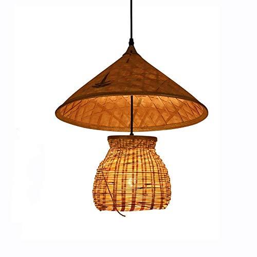 Baibang Deckenleuchter Bambus, Kronleuchter Restaurant Deckenleuchte Innenbeleuchtung, Strohhut Lampe Angelrute Lampe Einfach