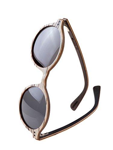 WOLA Damen Sonnenbrille Holz HELIO Brille rund - klassischer Stil polarisiert UV400 Holzbrille White...