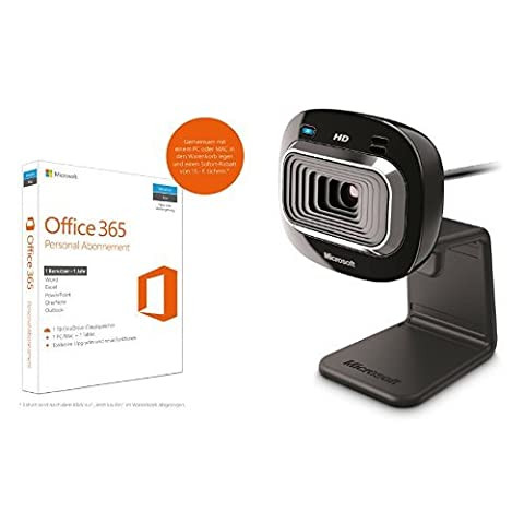 Microsoft Office 365 Personal - 1 PC/MAC - 1 Jahresabonnement - multilingual (Product Key Card ohne Datenträger) + Microsoft LifeCam HD-3000 (Skype
