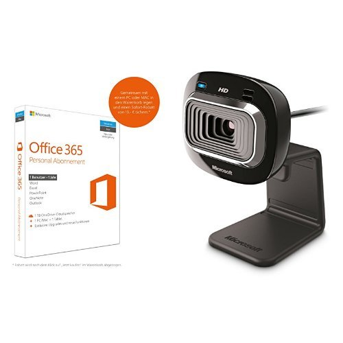 Microsoft Office 365 Personal - 1 PC/MAC - 1 Jahresabonnement - multilingual (Product Key Card ohne Datenträger) + Microsoft LifeCam HD-3000 (Skype zertifiziert)