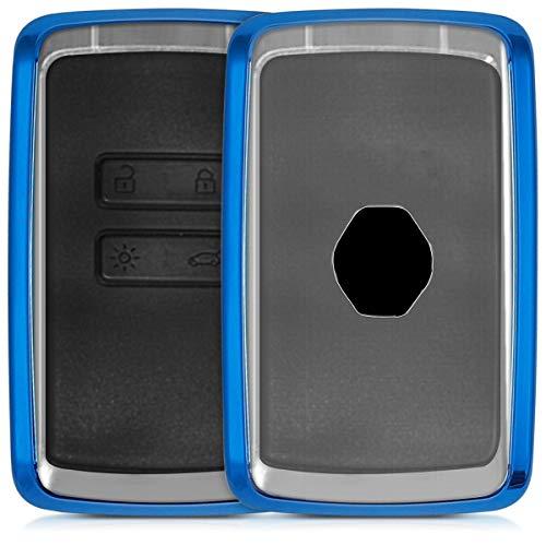 kwmobile Autoschlüssel Hülle für Renault - TPU Schutzhülle Schlüsselhülle Cover für Renault 4-Tasten Smartkey Autoschlüssel (nur Keyless Go) Hochglanz Blau Transparent