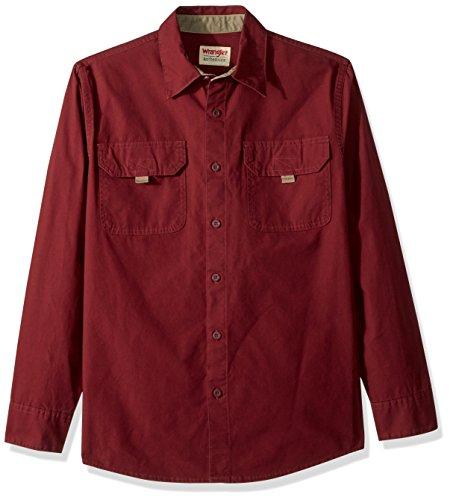 Wrangler Herren Long Sleeve Canvas Shirt Button Down Hemd, Tawny Port, Mittel -