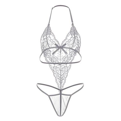 Meijunter Vreizvolle transparente Unterwäsche / fashion transparente Spitze  Unterwäsche Geräteset White