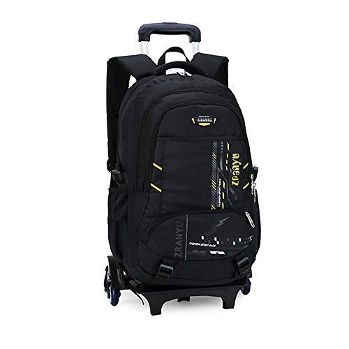 Bupin Rolling Rucksack, Schultasche, sechs Rädern Trolley Bag für Kinder und Schüler mit Rädern (gelb) (Rucksäcke Mit Rucksack Rolling Rädern)