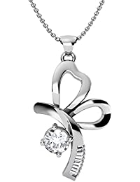 Pendant For Women With Certified Taper Baguette Real Diamond Wt 0.06 Ct In Sterling Silver 925, Silver Taper Jewels...